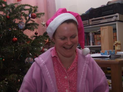 Sarah in pink santa hat
